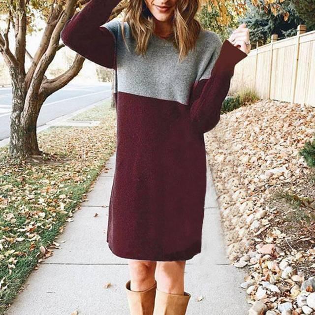 Women Autumn Dress Long Sleeve Stripe Patchwork O-neck Mini Dress Fashion Clothing Loose Casual Autumn Winter Vestido 2