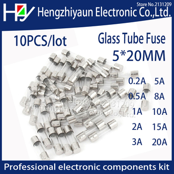 10Pcs/lot Fast Quick Blow Glass Tube Fuse Assorted Kit Fast Blow Glass Fuses 1A 2A 3A 5A 6A  10A 12A 15A 20A/250V 5*20 mm thermo [sa]united states bussmann fuses buss agc 8 r 8a 250v fuse 6 35