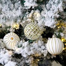 24 шт., белое золото, смешанные Рождественские елочные украшения, рождественские шары, вечерние, на окно, для дома, пушистые, рождественские, висячие, декоративные шары