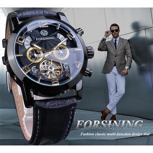 Image 3 - Forsining Tourbillion Fashion Wave Black Golden Clock Multi Function Display Mens Automatic Mechanical Watches Top Brand Luxury