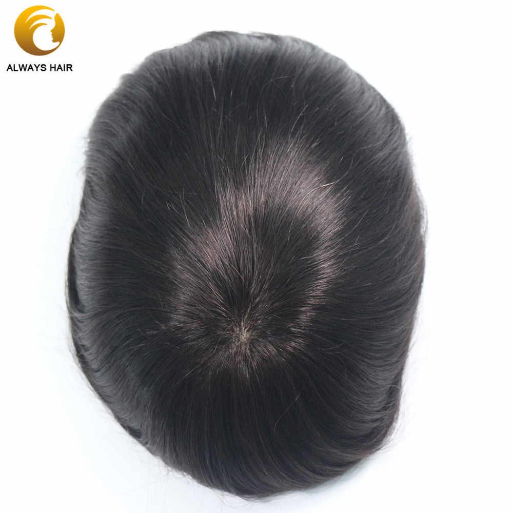 "Base de seda, cabello humano Remy indio, tupé para hombres, cuero cabelludo Natural liso, Color Natural 6 ""x 8"" 7 ""x 9"" 8 ""x 10"", sistema de cabello para hombre"
