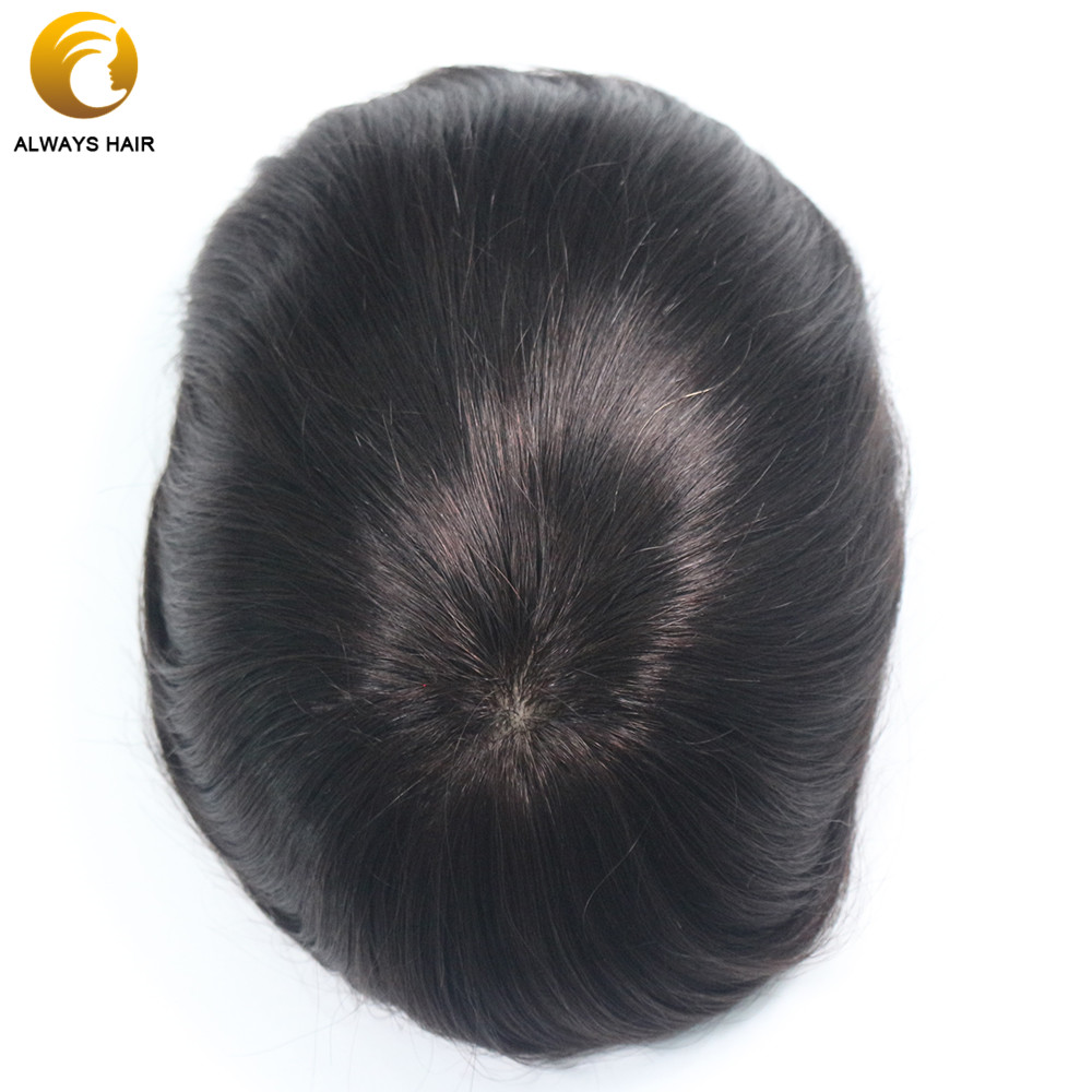"Image 2 - Silk Base Indian Remy Human Hair Mens Toupee Natural Scalp Straight Natural Color 6""x8"" 7""x9"" 8""x10"" Hair Sytem for MaleToupees   -"