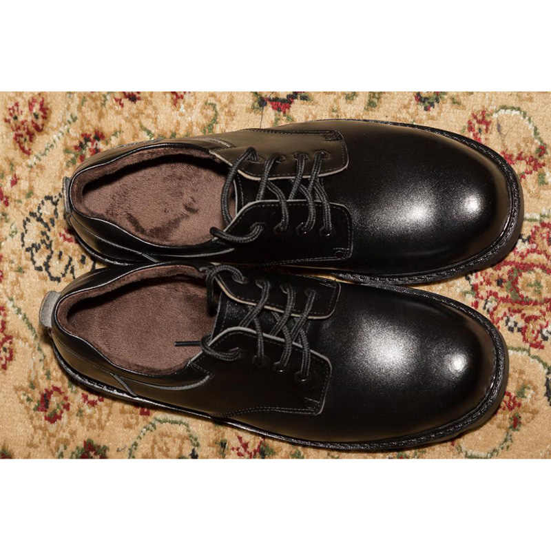 Herren Schuhe Große Größen Casual Britischen Echtes Leder Männer Schuhe Offizier Kuh Leatrher Schuhe Männer Winter Warme Pelz Plüsch Schwarz