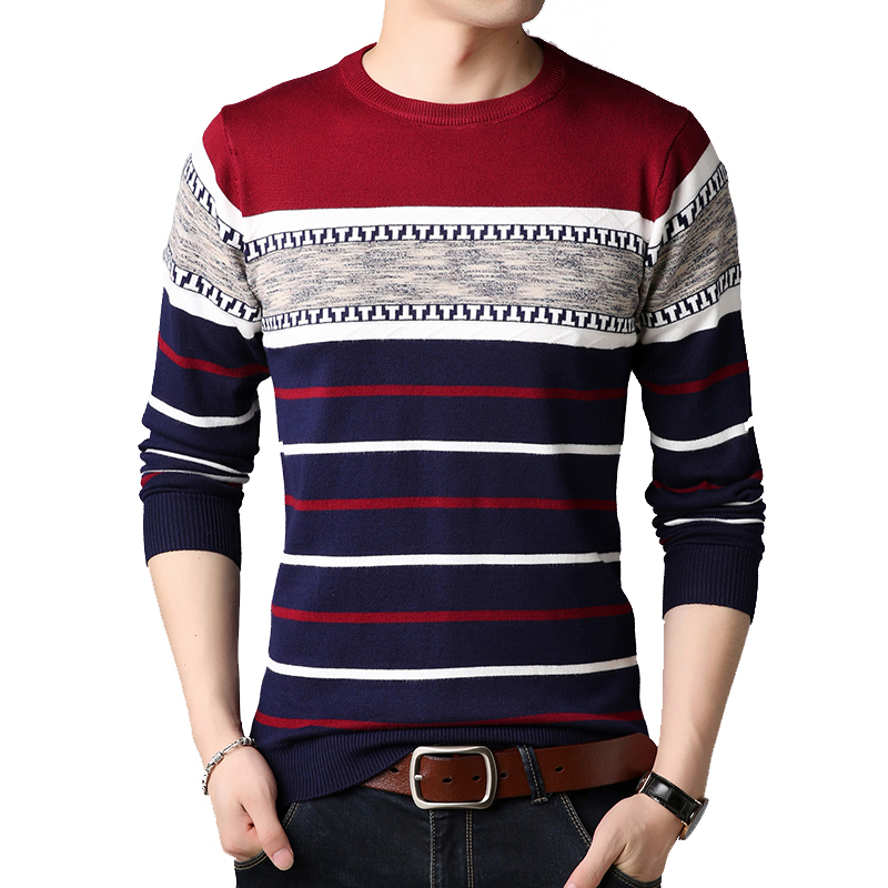 BROWON Brand-sweater 2019 Autumn Winter Warm Pullover Knitted Sweater Slim Fit Sweaters Men Striped Mens Knitwear Sweaters