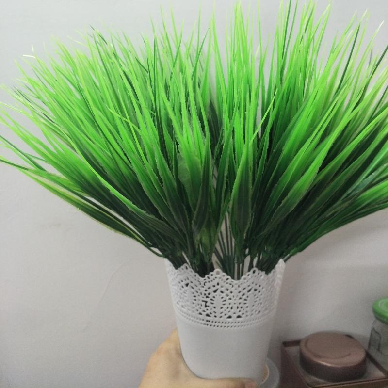 Artificial Plants Green Grass Plastic Plant Artificial Grass Desktop Decor Grass For Garden Outdoor Decoration Fake Plants
