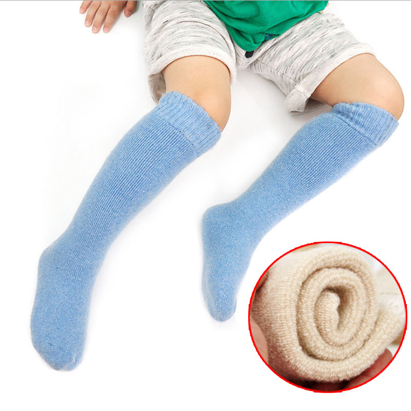 Warm Kids Knee High Socks Thicken Thermal Wool Snow Winter Socks For 3-7 Years Children Baby Long Tube Leg Warm