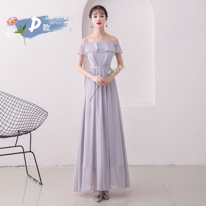 Boat Neck A-Line Burgundy Bridesmaid Dresses Long Chiffon Woman For Party And Wedding Sexy Prom Dress Sitster Club Gray Vestido