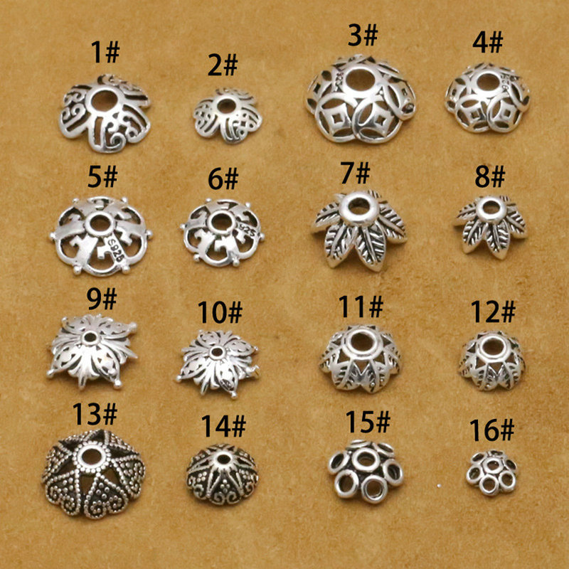 925 Sterling Silver Accessories Beads Caps For DIY Jewelry Making S925 Jewelry Findings&Components