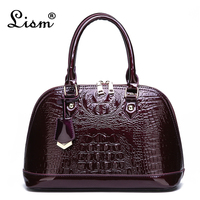 Women's bag luxury high quality patent leather fashion crocodile pattern OL handbag 2019 new simple shoulder Messenger bag