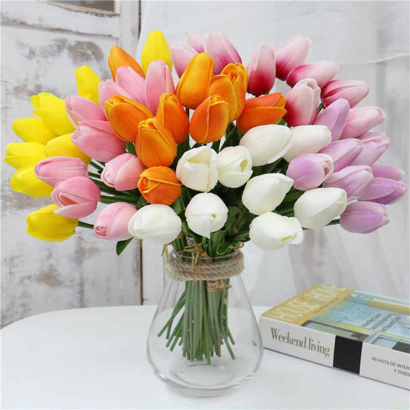 10 Pcs Beauty Real Touch Bloemen Latex Tulpen Bloem Kunstmatige Boeket Nep Bloem Bruidsboeket Versieren Bloemen Voor Bruiloft