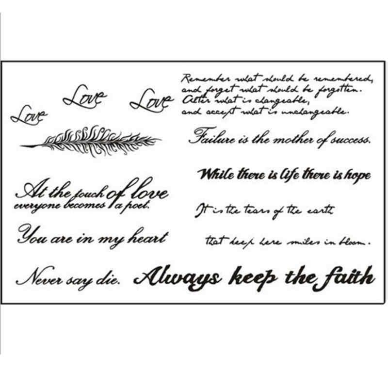 ホット黒英単語タトゥーステッカー女性男性カップルボディーアート一時的な偽のタトゥーステッカー防水