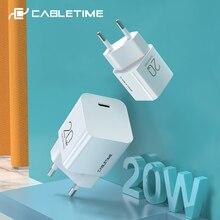 """CABLETIME פ""""ד 20W מטען USB C מיני מהיר טעינה עבור iPhone 12 iPad פרו Xiaomi Nintendo מתג מהיר מטען 3.0 C381"""