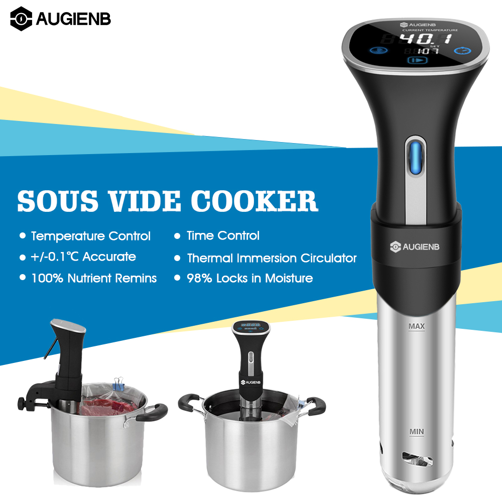AUGIENB 800W Vacuum Slow Sous Vide Cooker 15L Immersion Circulator Machine LCD Digital Timer Stainless Steel