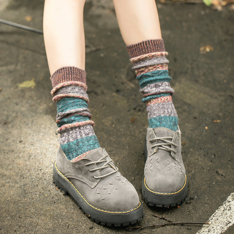 Swyivy 20Pairs Winter Knitting Warm Socks Women Stripe Boots Sock Long Socks for Women 2020 Winter New Girl Cotton Socks