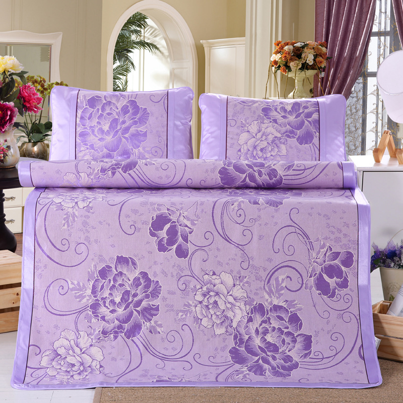 Ice Silk Mat 3pcs Jacquard Mat 1.5 / 1.8 Meters Washable Folding Single Double Air Conditioning 2 Pillowcases And 1 Mat