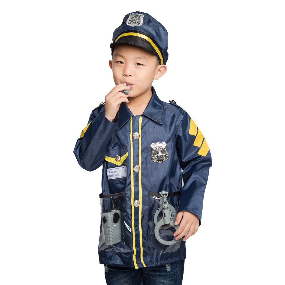 Umorden Kids Child Police Officer Policeman Cop Costume Cosplay Kindergarten Role Play House Kit Set For Boys Halloween Dress Up