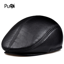 Pudi man real leather berets cap hat 2019 new cow leather winter warm caps hats HL915 цена