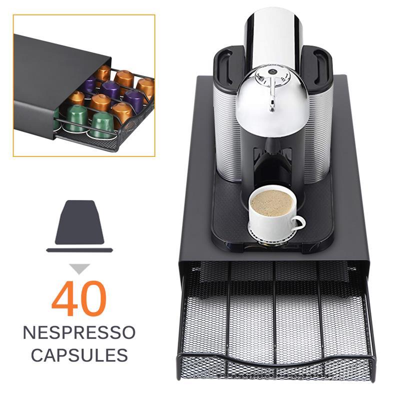 Ev ve Bahçe'ten Kahve Takımları'de 40 bakla kahve Pod tutucu depolama çekmecesi kahve kapsülleri organizatör isı dayanıklı dayanıklı mutfak kahve aracı büyük kapasiteli title=