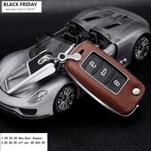 רכב מפתח מקרה כיסוי פולקסווגן פולקסווגן Golf7 ג טה Lavida Tiguan פאסאט פולו חיפושית MK5 MK6 רכב מפתחות מעטפת עם מפתח טבעת KeyChian