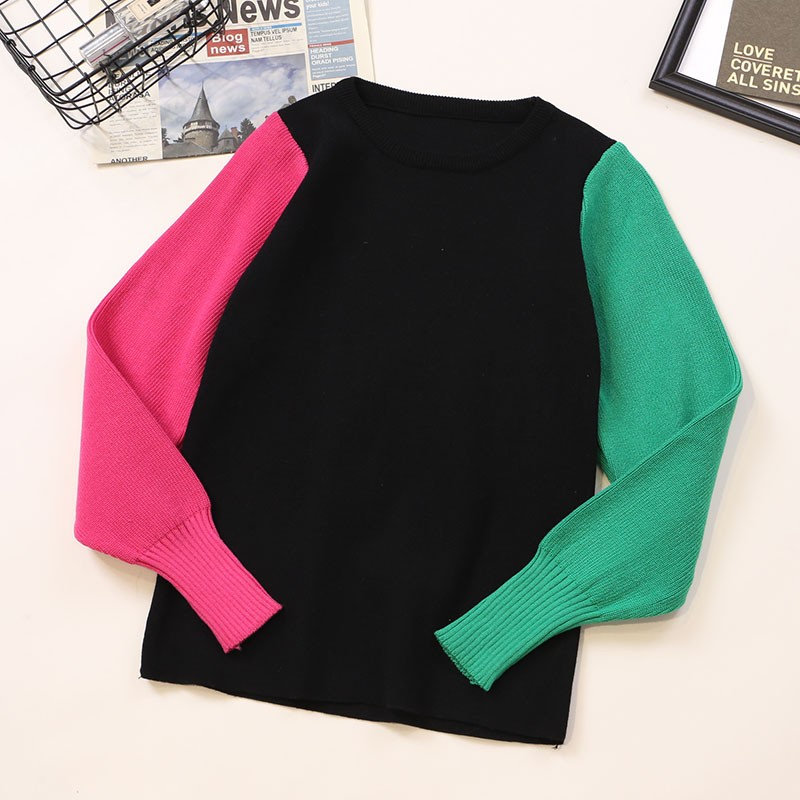 NiceMix Women Fashion Korean Knit Sweater Long Puff Sleeve Contrast Color Pullovers Female Casual Jumper Harajuku Patchwork Tops