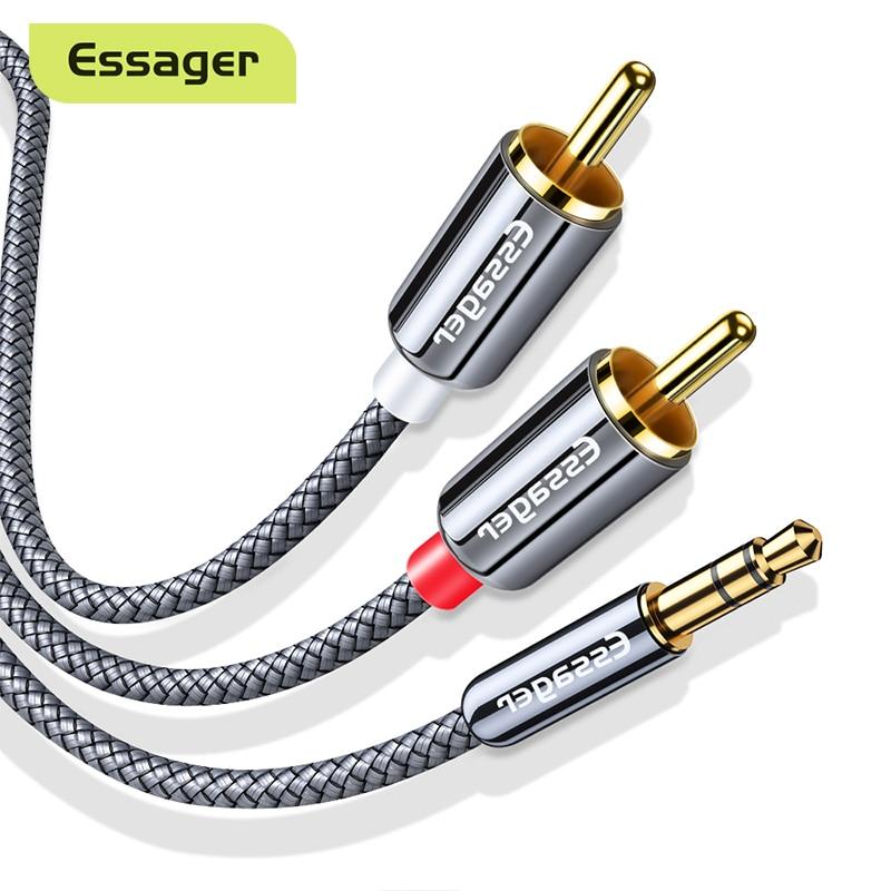 Essager RCA кабель 3,5 мм Джек 2 RCA Aux кабель 3,5 мм до 2RCA адаптер-разветвитель аудио кабель для ТВ коробка дома Театр Динамик провода