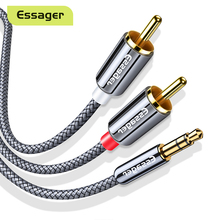 Essager RCA 케이블 3.5mm 잭 2 RCA Aux 케이블 3.5mm 2RCA 어댑터 분배기 오디오 케이블 TV 박스 홈 시어터 스피커 와이어