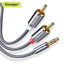 Essager-Cable RCA de 3,5mm a 2 RCA, adaptador Aux de 3,5mm a 2RCA, divisor de Cable de Audio para TV Box, cine en casa, Cable de altavoz