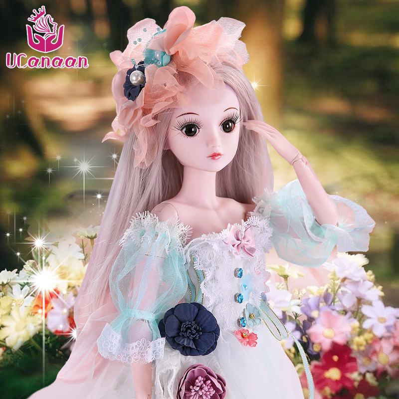 UCanaan 23.6 Inch BJD Dolls With 19 Ball Joints SD Doll Clothes Outfit Shoes Wig Hair Makeup For Girls Gift And Dolls Collection