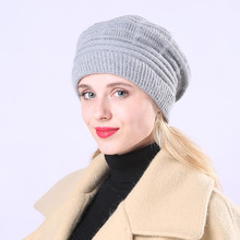Fashion Ladies Beret Winter Plus Velvet Wool Warm Striped Knit Cute Hat Autumn Hats 2019 French