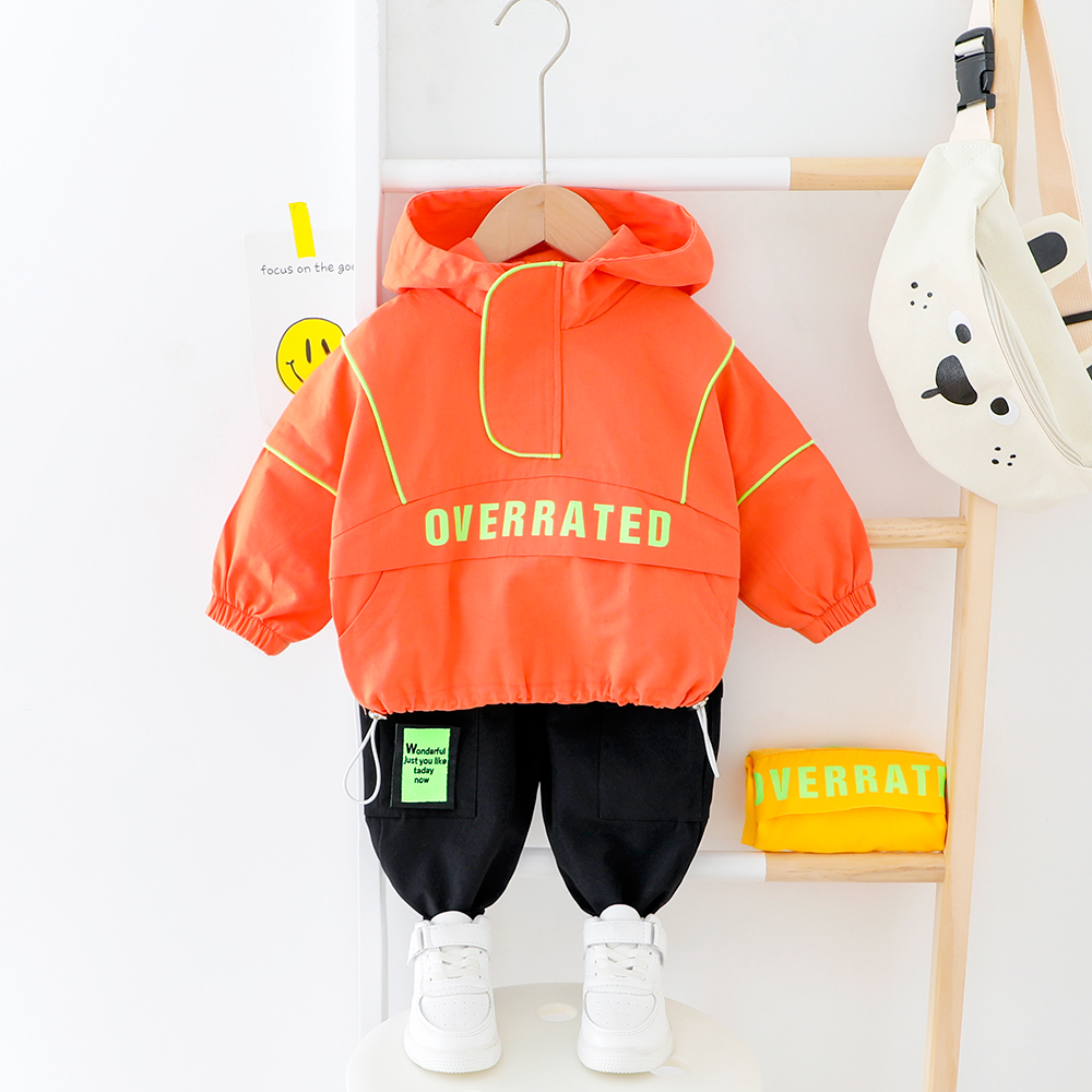 Kids Letter Clothes Infant Baby Boys Girls Hooded Sport Suits Spring Fall Fluorescence Suit Boy Clothes Safe Girl Tracksuit