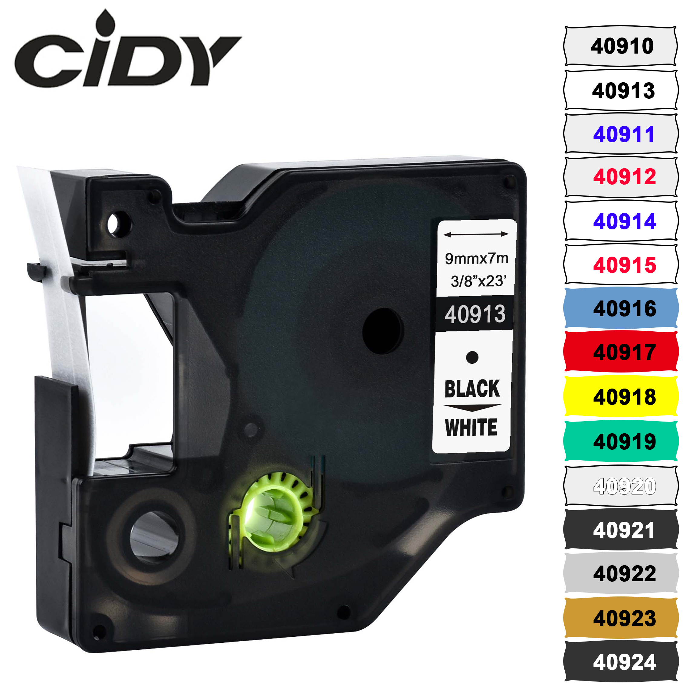 CIDY Multicolor 40913 40918 40910 9mm Black On White Label Tape Compatible Dymo D1 Manager 45013 FOR DYMO LM160 LM280 DYMO PNP