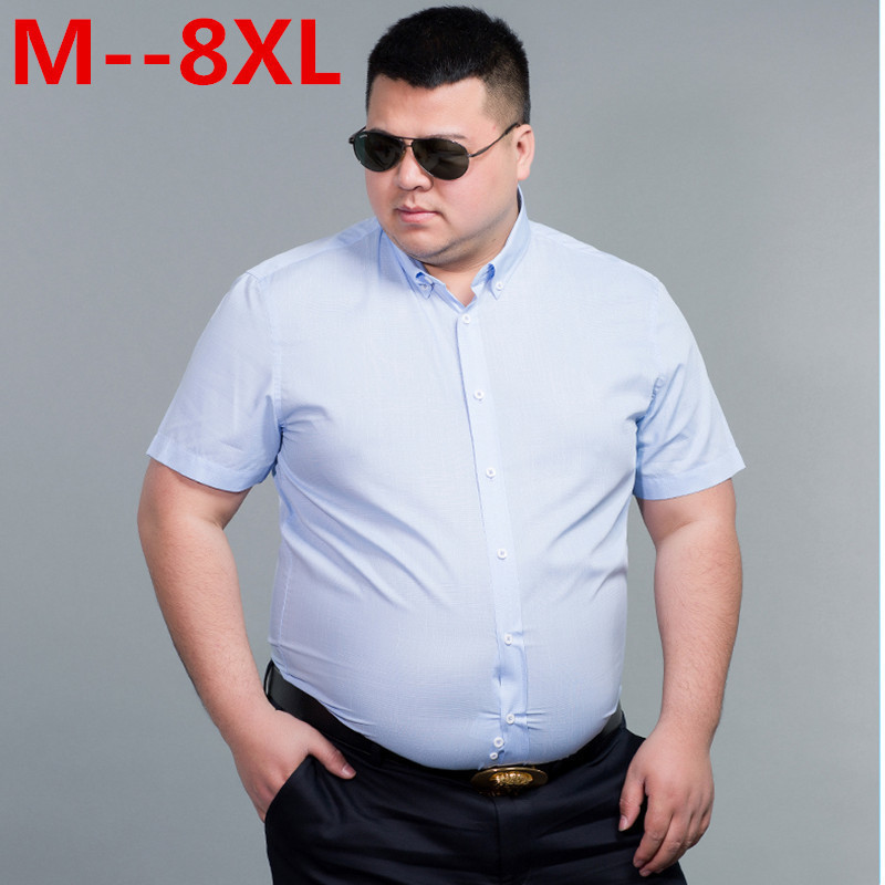 10XL 8XL 6XL Shirts Fashion Brand Mens 100% Cotton Shirt Short Sleeve Camisa Masculina Men's Clothing Casual Thin Dress Shirts