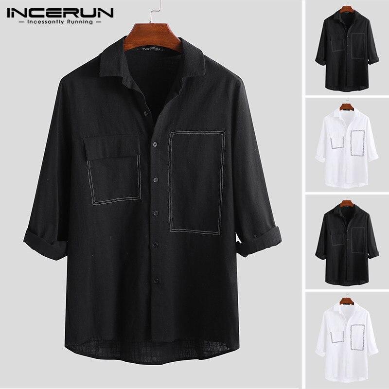 INCERUN Fashion Men Shirt 3/4 Sleeve Cotton Linen Handsome Blouse Streetwear Turn-down Collar Brand Business Shirts Men Harajuku