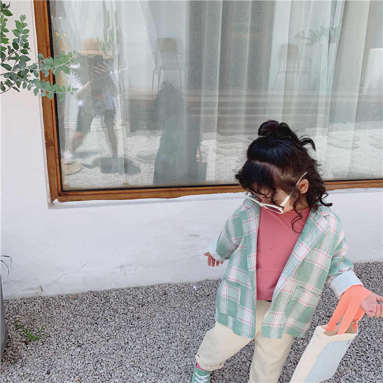 Thời Trang Phong Cách Hàn Quốc Bé Gái Rời Retro Kẻ Sọc Phù Hợp Với Áo Khoác Mùa Thu Trẻ Em 1 Nút Bấm cho Nam Nữ Áo 1-6y