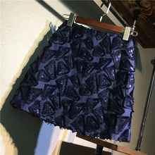Mini-Skirts Sequined Women Short Sexy Sweet Pencil Bling Flower Embroidery Shiny Female