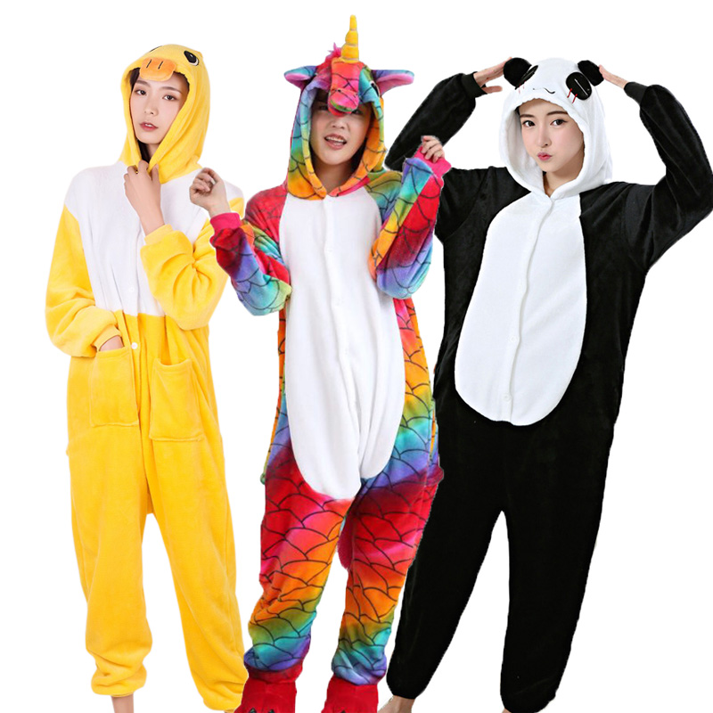 Women Animal Pajamas Adult Unicorn Pikachu Panda Stitch Pegasus Cartoon Cosplay Flannel Hooded Unisex Pijamas Costume Onesies