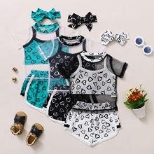 Vêtements pour bébés filles, hauts à manches courtes, imprimés cœurs, gilet + Short, tenues de sport, vêtements d'été, 2021
