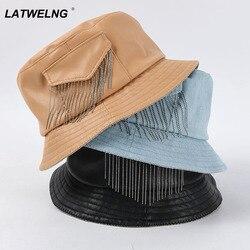 New Pocket Tassel Fisherman Hat For Women Fashion PU Soft Leather Bucket Hats Female Tide Flat Top Sun Hat Wholesale B021