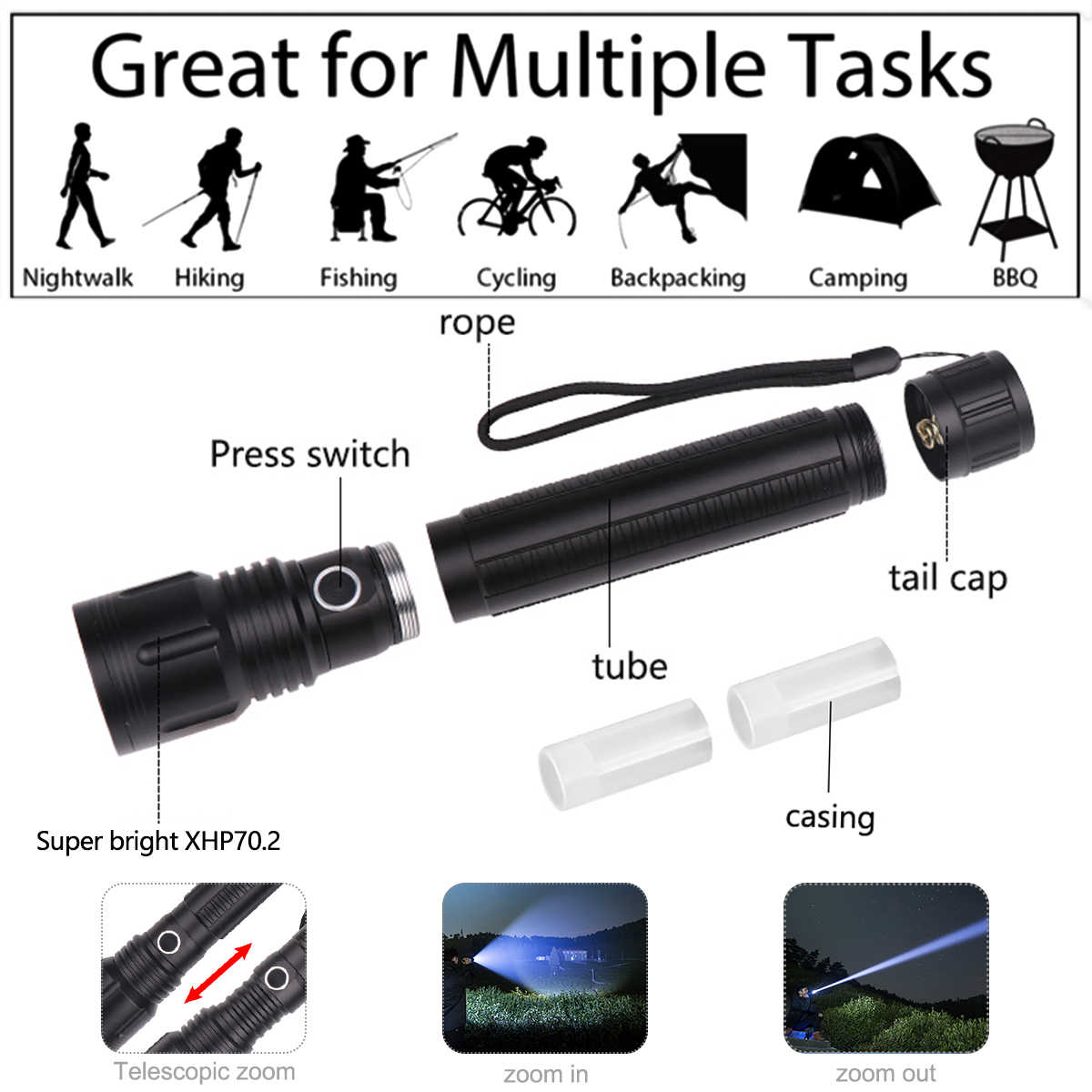60000lumens powerful flashlight XLamp xhp70.2 led torch Zoomable 5modes xhp70 xhp50 18650 or 26650 battery Best Camping, Outdoor