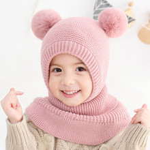 Kids Winter Wool Pompons Hats Girls Boys Beanie Children Warm Caps Scarf Set Baby Bonnet Enfant Knitted Cute Hats for Girls Boys 2016 new fashion winter autumn hats for lady girls knitting wool pompons cute caps with ear skullies beanie female gorras 2016 page 3