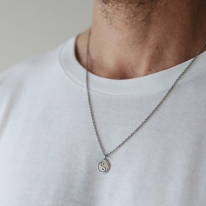 Ожерелье Инь Янь ожерелье из нержавеющей стали для женщин и мужчин простая Длинная цепочка подвеска ожерелье эффектные пары чокер подарки ювелирные изделия|Ожерелья с подвеской|   | АлиЭкспресс