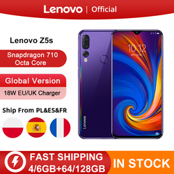 Перейти на Алиэкспресс и купить global version lenovo z5s snapdragon 710 octa core 6gb 64gb 128gb mobile phone 6.3inch android p triple rear camera smartphone