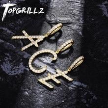 TOPGRILLZ-colgante de A-Z con letras pequeñas para hombre y mujer, abalorio de nombre, colgante de circón cúbico, joyería de Hip Hop