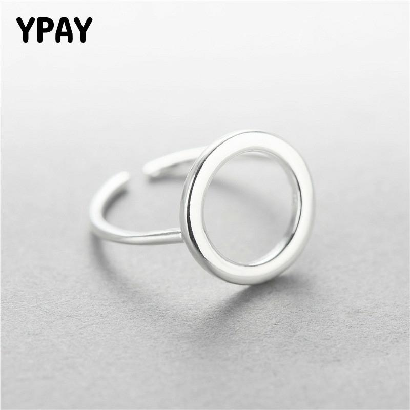 YPAY Real 925 Sterling Silver Round Circle Open Rings For Women Personality Simple Style Lady Anti-Allergy Fine Jewelry YMR009