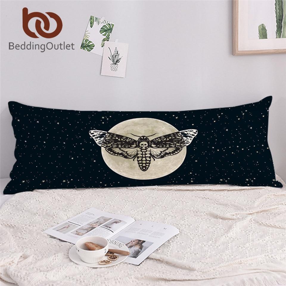 BeddingOutlet Death Moth Long Pillowcase Gothic Skull Double Pillow Case Butterfly Bedding Blue Stars Decorative Pillow Cover 1