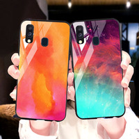 silicone case Tempered Glass Case For samsung galaxy A20 A30 A40 A50 Cases Space Silicone Covers for samsung A5 A6 A7 A8 plus 2018 back cover (1)