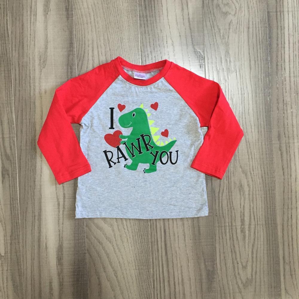 Girlymax Winter Spring Valentine's Day Baby Boys Red Grey RAWR Dinosaur Raglans Boutique Cotton Top Children Clothes Heart Shape 3