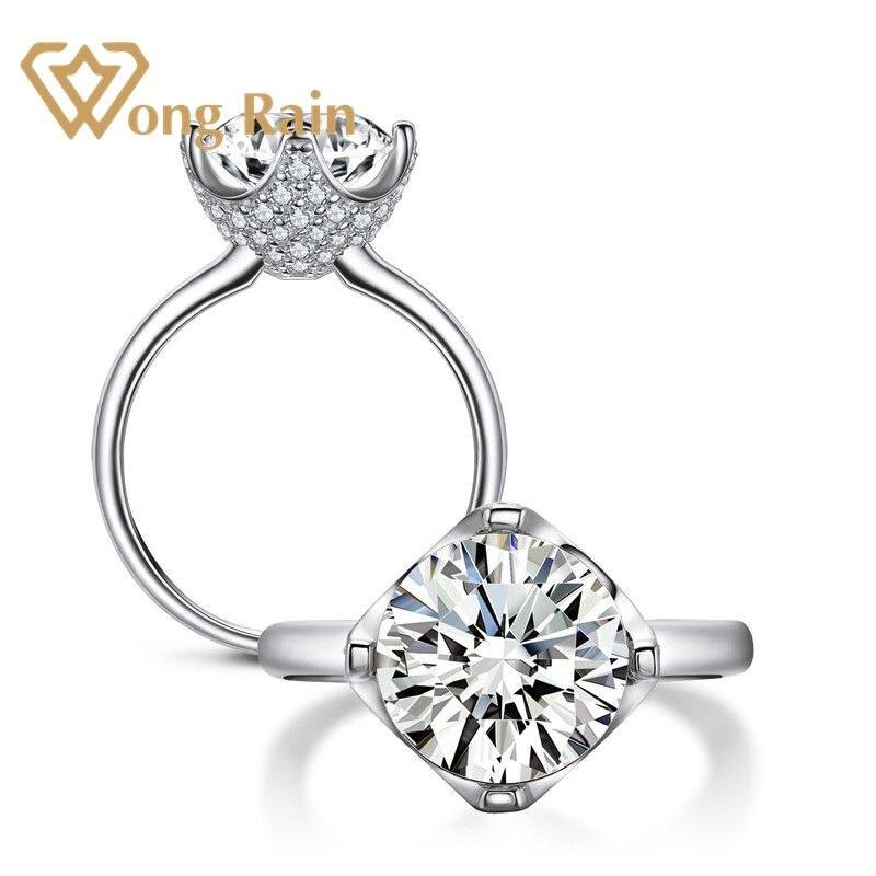 Wong Rain Classic 100% 925 Sterling Silver Created Moissanite Gemstone Diamonds Wedding Engagement Ring Fine Jewelry Wholesale