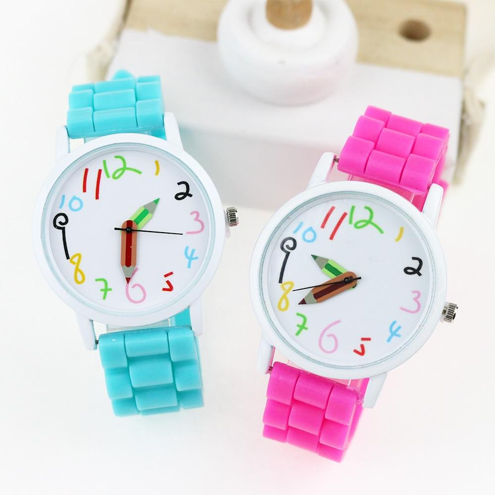 Jelly Silicone Students Kids Watch Fashion Cartoon Children Watches Pencil Pattern Women Quartz Wrist Watch Girls Boys Gifts