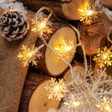 LED String Lights Snowflake Garland Fairy Light Home Decoration for Christmas Tree New Year Wedding Party Garden Battery USB EU цена и фото